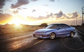 Картинка небо, синий, Honda, седан, хонда, blue, Sedan, акура, Acura, интегра, Integra