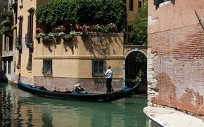 Картинка город, фото, улица, дома, Италия, Венеция, канал