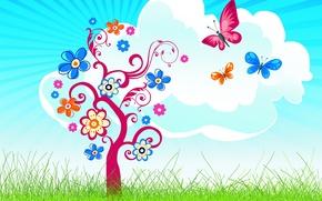 Картинка трава, бабочки, дерево, облако, цветочки