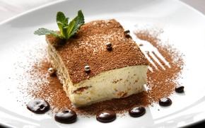Картинка фон, обои, еда, шоколад, пирожное, десерт, широкоформатные, тортик, сладкое, полноэкранные, HD wallpapers, тирамису
