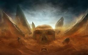 Картинка камни, череп, арт, desktopography, furious sands