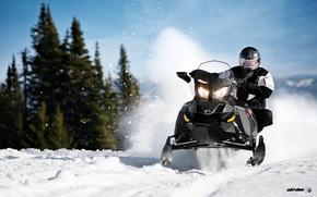 Картинка Снег, Snow, Лёс, Снегоход, Skidoo, Snowmobile, Ski-Doo