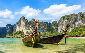 Картинка Природа, Облака, Скала, Лодки, Таиланд, Krabi Province