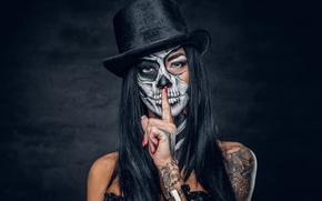 Обои hat, brunette, day of the dead, finger, makeup