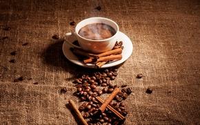 Картинка палочки, пар, чашка, кофе, пена, зерна, блюдце, пряности, корица