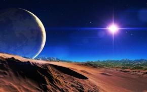 Картинка небо, звезды, горы, планета, спутник