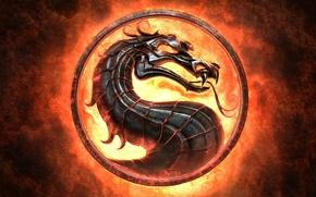 Картинка язык, огонь, пламя, знак, дракон, эмблема, Mortal Kombat, Смертельная битва, игра на века, смертельная схватка
