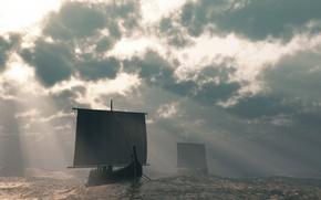 Обои Небо, Вода, Лодки, парус