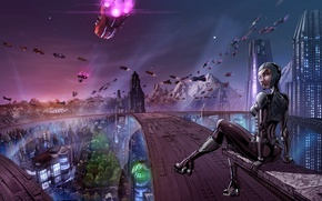 Картинка девушка, город, будущее, транспорт, корабли, арт, мегаполис