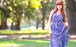 Картинка лето, взгляд, девушка, парк, платье, рыжеволосая, голубоглазая
