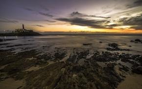 Картинка пляж, закат, горизонт, Бразилия, Сальвадор, Баия, Барра Маяк