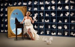 Обои картина, аист, полки, птицы, девушка, облака, перепись, учет, пишет, голуби