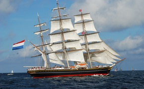 Картинка sea, sailing ship, сlipper, Stad Amsterdam
