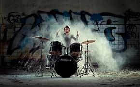 Картинка девушка, эмоции, барабаны