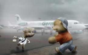 Обои встреча, Ёжик, аэропорт, медвежонок