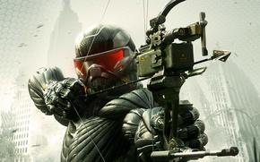 Картинка деревья, оружие, дома, Нью-Йорк, лук, солдат, разруха, стрела, листя, нанокостюм, Crytek, Crysis 3