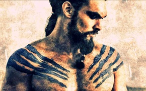 Картинка Game of Thrones, TV Series, Khal Drogo, Jason Momoa, HBO, Warlord of the Dothraki Tribe, …