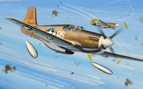 Картинка war, art, painting, ww2, P-51 Mustang