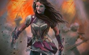 Картинка девушка, враги, арт, бой, доспехи, зеленые глаза. взгляд. броня, волосы