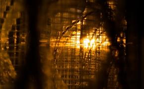 Картинка Sunset, Golden, View, Interior, Window, Outside, Curtain, Net