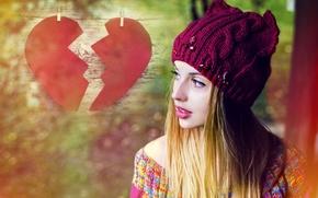 Картинка взгляд, девушка, шапка, волосы, сердце, макияж, половинки, heart, autumn, свитер, makeup