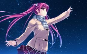 Обои арт, улыбка, аниме, miagete goran yozora no hoshi wo, houkiboshi hikari, девушка, шарф, ночь, звезды