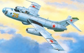 Картинка небо, рисунок, арт, бомбардировщик, советский, скоростной, назначения, Як-25Б, специального