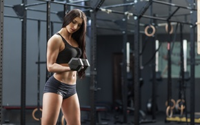 Картинка female, fitness, gym, arms, dumbbell