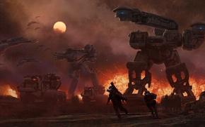 Обои steve burg, война, корабли, солдаты, шагатели, взрыв, техника, будущего, солнце, роботы