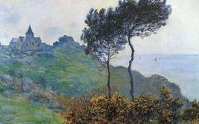 Картинка пейзаж, картина, Клод Моне, Церковь в Варанжвиле. Пасмурно