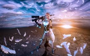 Картинка оружие, перья, воительница, Lightning, косплей, Final Fantasy XIII-2, Lyz Brickley
