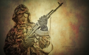 Картинка оружие, надпись, капюшон, противогаз, мужчина, калаш