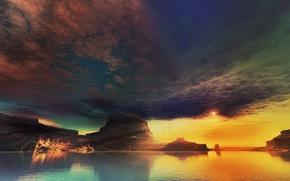 Картинка облака, закат, озеро, скалы, арт, lightdrop