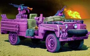 "Картинка car, art, Land Rover SAS Recon vehicle ""Pink Panther"", painting.war"