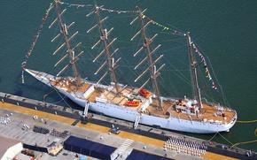 Картинка корабль, парусник, причал, порт, мачты, швартовка, парусный, барк, визит, BAP Union