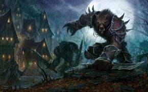 Обои оружие, дома, волки, фэнтези, ночь, фантастика, World-of-Warcraft, воины