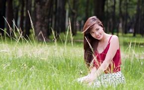 Картинка взгляд, девушка, улыбка, настроение, азиатка