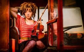 Картинка красный, скрипка, music, автобус, violin, Lindsey Stirling, Линдсей Стирлинг