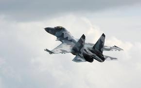Картинка Облака, Самолет, Полет, Истребитель, Су-35, Многоцелевой, Небо. Высоита