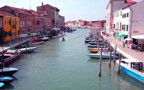 Картинка Италия, тротуар, дома, лодки, канал, остров Мурано, Венеция, небо