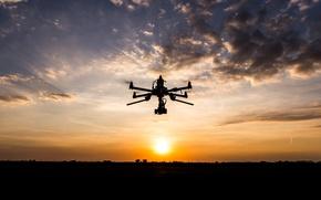 Картинка sunset, clouds, drone
