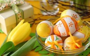 Картинка яйца, Пасха, тюльпаны, flowers, spring, Easter, eggs