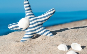 Картинка песок, море, пляж, ракушки, summer, beach, sea, blue, sand, starfish, seashells