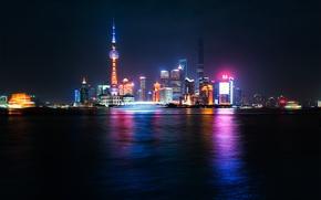 Картинка ночь, отражение, река, Китай, Шанхай, Oriental Pearl Tower, Shanghai Tower, Shanghai World Financial Center, реки …