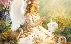 Картинка птицы, ангел, девочка, енот, зайцы, girl, крылышки, венок, ребёнок, Angel, baby, белки