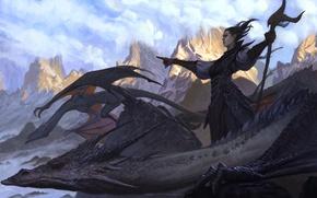 Картинка горы, фэнтэзи, маг, арт, дракон, девушка, рога, пейзаж