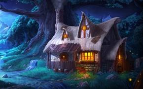 Картинка лес, ночь, огни, дом, ручей, дерево, домик, Trine 2