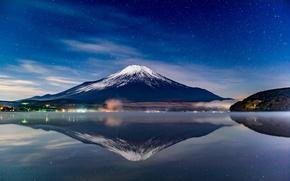 Картинка небо, звезды, пейзаж, гора, вулкан, Япония, Fuji