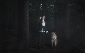 Картинка тигр, человек, прогулка