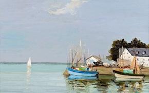 Картинка дом, лодка, картина, бухта, парус, морской пейзаж, Brittany, Марсель Диф, Finistere, Loctudy